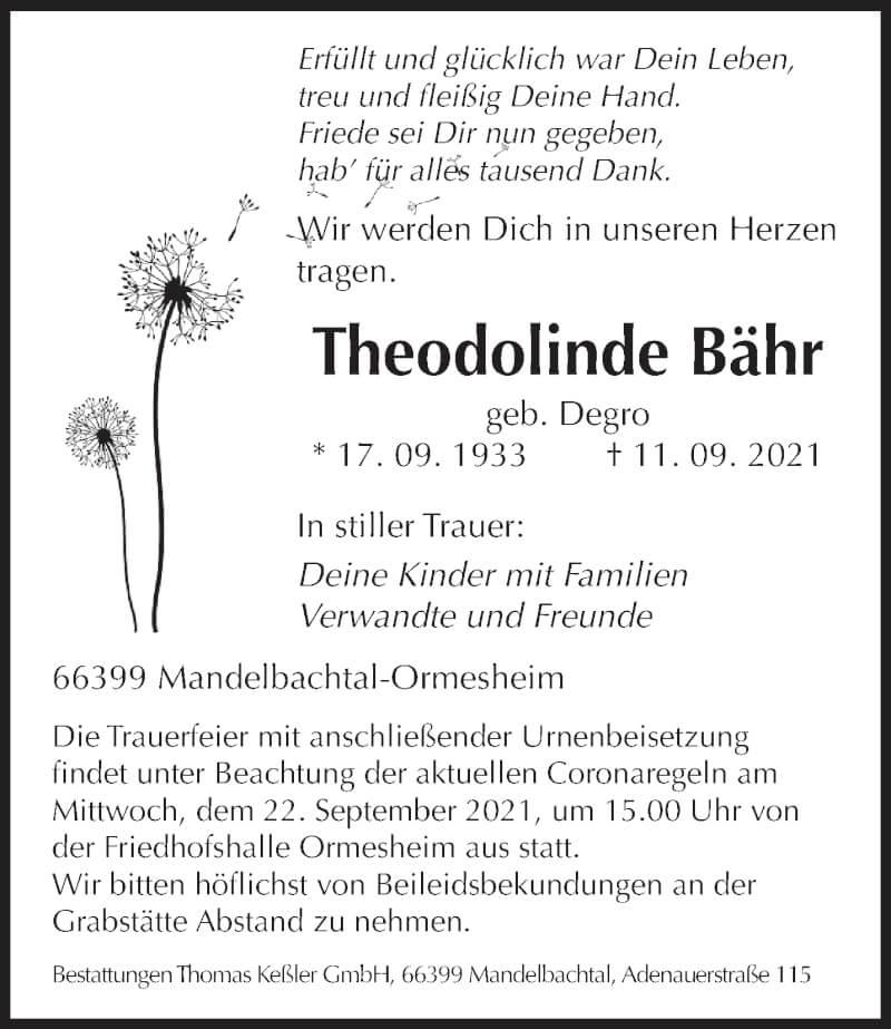 Traueranzeige für Theodolinde Bähr vom 18.09.2021 aus saarbruecker_zeitung