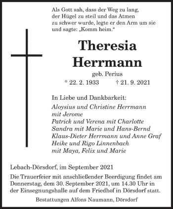 Traueranzeige von Theresia Herrmann von saarbruecker_zeitung