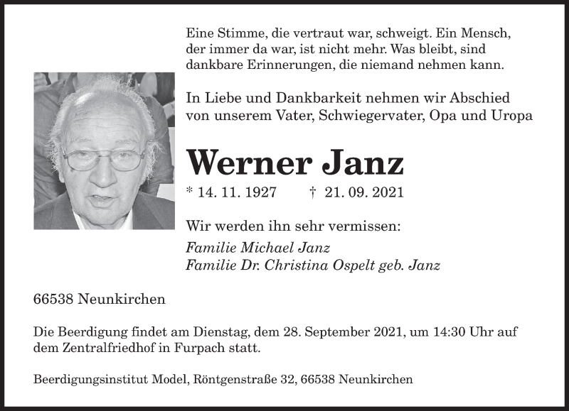 Traueranzeige für Werner Janz vom 25.09.2021 aus saarbruecker_zeitung