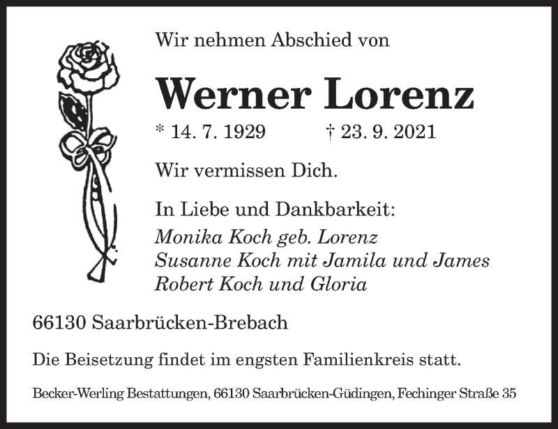 Traueranzeige für Werner Lorenz vom 25.09.2021 aus saarbruecker_zeitung