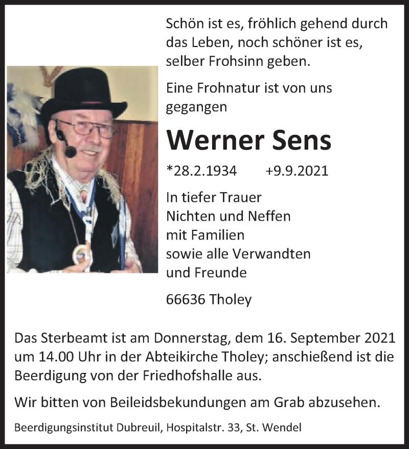 Traueranzeige für Werner Sens vom 13.09.2021 aus saarbruecker_zeitung