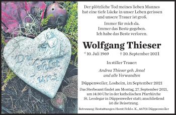 Traueranzeige von Wolfgang Thieser von saarbruecker_zeitung